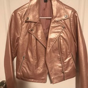 Rose Gold Forever 21 Leather Jacket